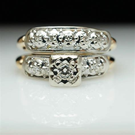 vintage art deco assembled diamond engagement ring wedding band bridal ebay
