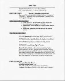 resume for licensed esthetician exle resume exle resume for esthetician