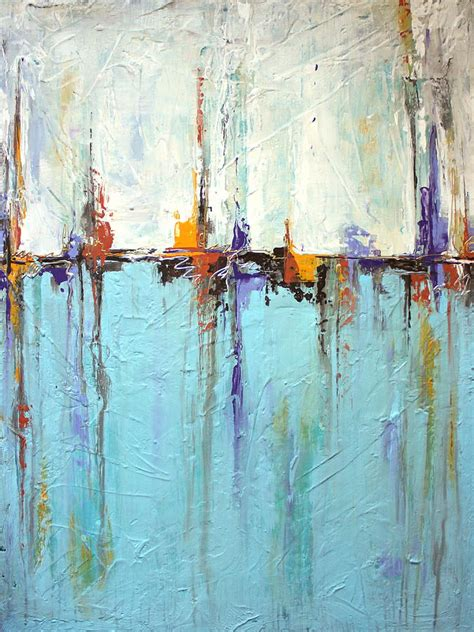 Sailing Texture White And Blue Abstract Painting Painting