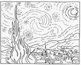 Starry Gogh Night Vincent Coloring Sketch Printable sketch template