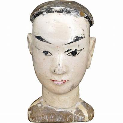 Chinese Wood Head Antique Puppet Carved Carving