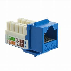 Blue Cat6 Keystone  Rj45 Female To 110 Punch Down