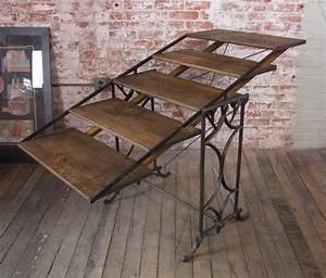 Vintage Adjustable Cast Iron And Wood Display Baker39s