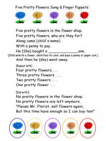 easter plays for children five pretty flowers song finger puppets printable and