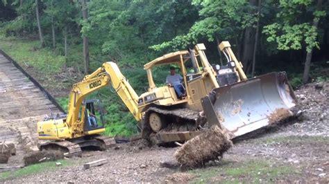 steep slippery slope   dozer  excavator youtube