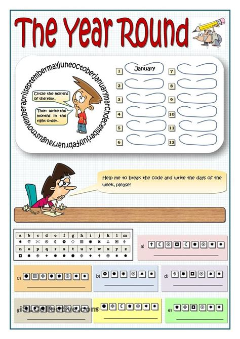 months  days   week puzzle learning english