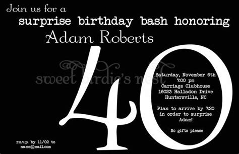 Black and White 40th birthday invitations by sweetbirdiesnest