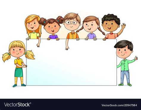 bright funny kids holding blank banner   text