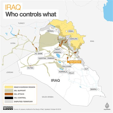 iraq war map  controls  isisisil al jazeera