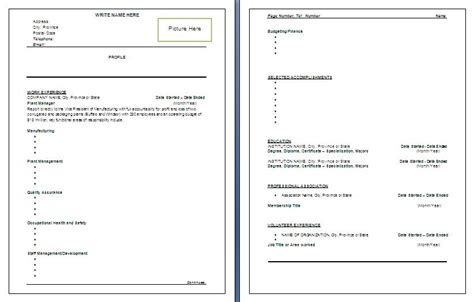 Manufacturing Resume Templates Word by Manufacturing Resume Template Free Word Templatesfree