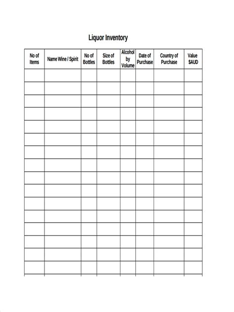 inventory examples  ms word ms excel pages
