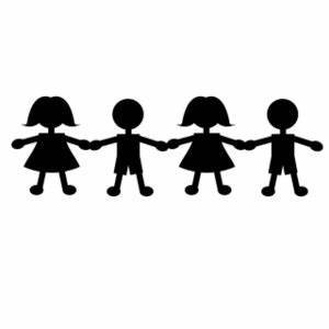 Paper Dolls Clipart Image - Four paper doll kids holding ...