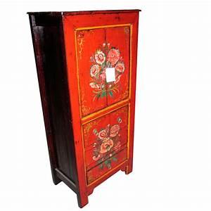 Meuble Chinois Occasion : armoire peinte mongole 4 portes et 2 tiroirs style chine chn007 de meuble chinois ~ Teatrodelosmanantiales.com Idées de Décoration