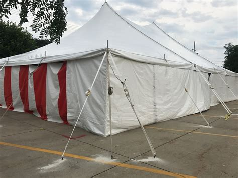 40 x 60 rope and pole tent with and white sidewall