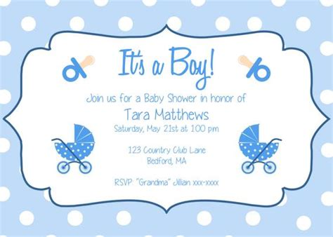 boy baby shower party invitation template
