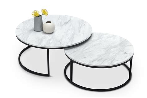 This nesting coffee table set features genuine marble and sturdy iron in your choice of. White Marble Nest Coffee Table Round Matte Black Metal Base Modern Contemporary | eBay