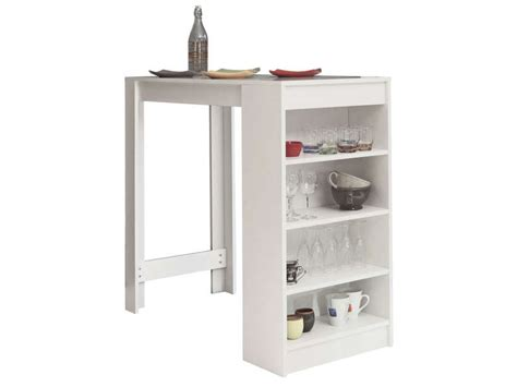 table bar avec rangement coloris blanc vente de table de cuisine conforama
