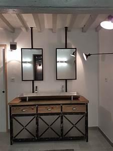 Meuble De Salle De Bain Industriel : meuble de salle de bain style industriel en acier et bois ~ Teatrodelosmanantiales.com Idées de Décoration