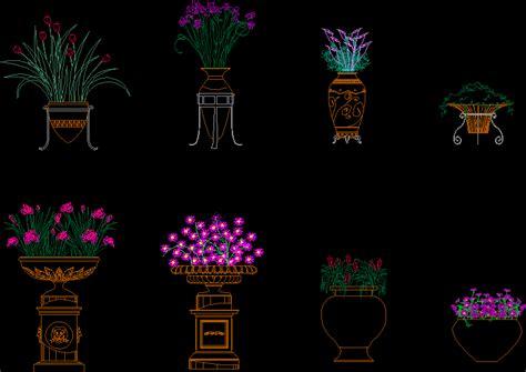 flowers pots dwg block  autocad designs cad
