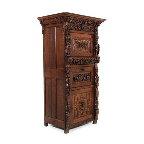 vintage oak liquor cabinet antique renaissance revival carved oak liquor 6853