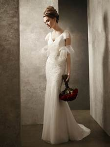 v neck fit and flare ivory lace wedding dress white by With vera wang lace wedding dress