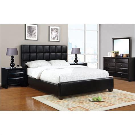 poundex  piece faux leather queen size bedroom set
