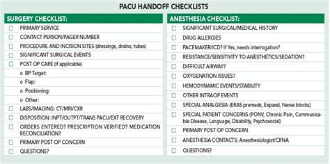 alternative succinct checklist offered  pacu handoff