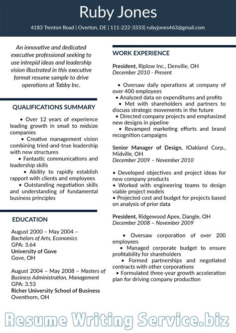 pin  resume  samples  executive resume format