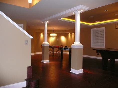 basement remodel lighting transitional basement