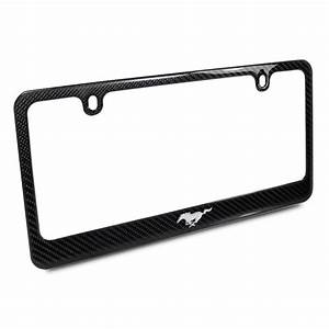 Ford Mustang Pony 3d Chrome Emblem Black Carbon Fiber License Plate Frame - Walmart.com ...