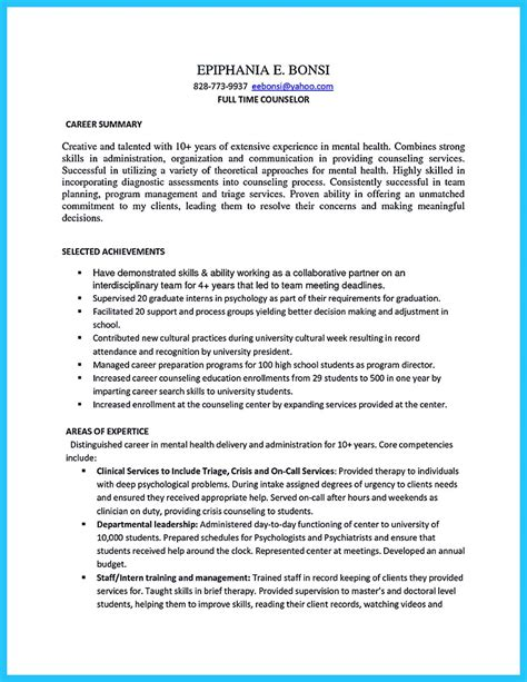 outstanding counseling resume examples   approved