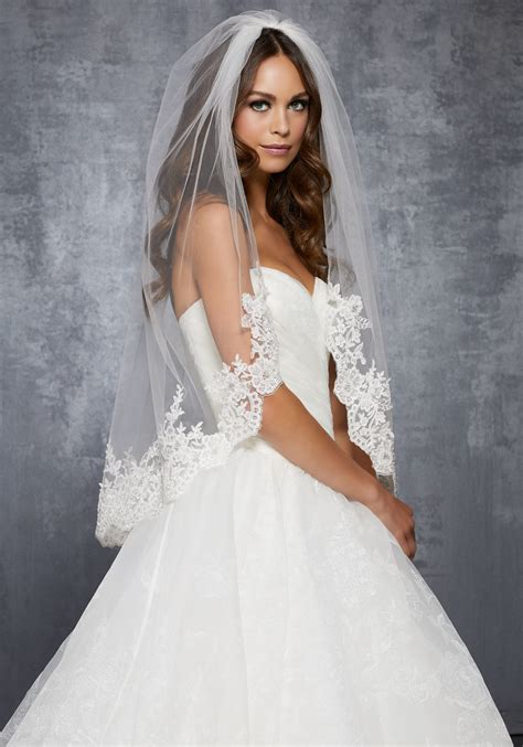Wedding Dress Accessories by Veil With Lace Beaded With Sequins And Rhinestones
