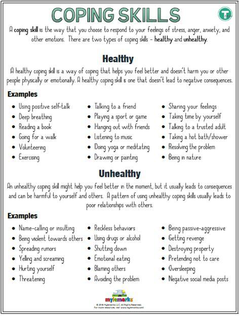 coping skills worksheets  teens worksheets master