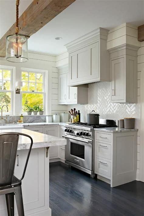 white herringbone backsplash white herringbone backsplash exposed beam pendant light cabinetry for the home pinterest