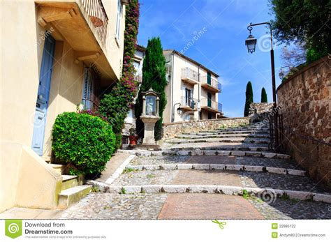 Balcony Seats by Street In The Old City Center Cannes France Stock Photo