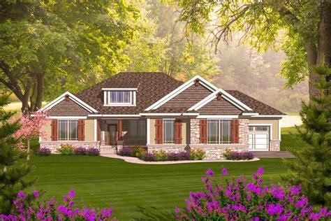 craftsman ranch  walkout basement ah architectural designs house plans