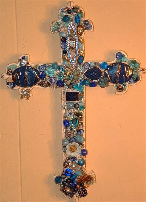 blue butterfly jeweled cross handmade   cross art