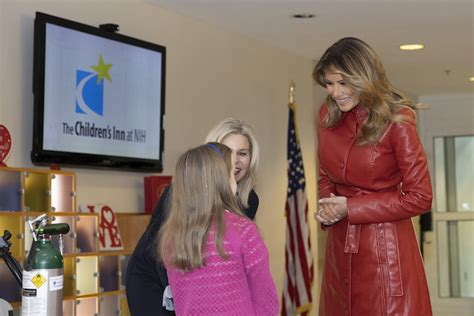 leather melania coat hospital trump children dropping jaw during tasos katopodis getty stuns valentine