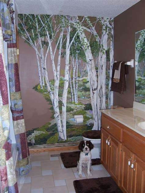 birch tree wall mural  downstairs bath tree wall