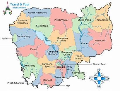 Cambodia Map Maps Provinces Phnom Penh