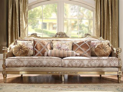 This sofa captures that style high quality italian designer collection will beautify your home and make statement about your right. Luxury Beige & Gold Carved Wood Sofa Traditional Homey ...