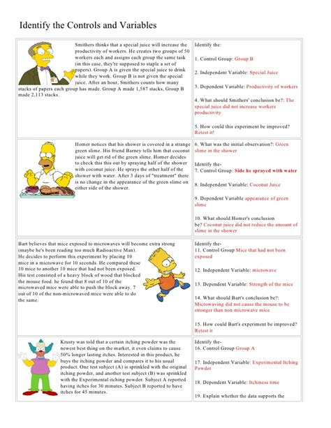 scientific method story worksheet answer key bart simpson controls and variables with answers