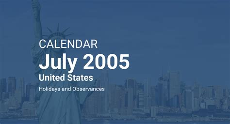 july  calendar united states