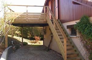 terrasse bois escalier bois et garde corps bois en pin With modele escalier exterieur terrasse