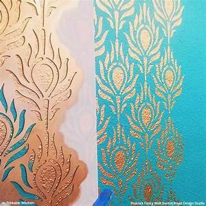 Modern Masters Paint Color Chart Peacock Fancy Allover Stencil For Diy Wall And Furniture
