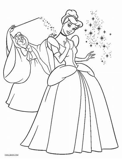 Cinderella Coloring Pages Printable Fairy Disney Princess