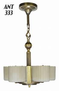 Vintage hardware lighting art deco streamline markel five light chandelier ant