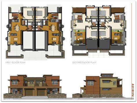 duplex unit floor plan  elevation rendering