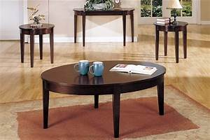 3 pcs table set circular dark brown coffee end table set With dark brown coffee table set