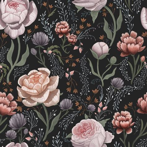 Anewall Rose Le Soir Dark Floral Removable Wallpaper